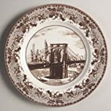 Johnson Brothers Historic America Brown Dinner Plate, Brooklyn Bridge