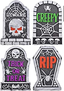 Set of Four PolyFoam Spooky Tombstones with Glitter Accents
