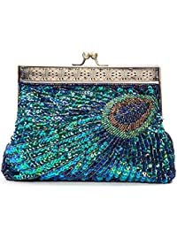 Vintage Beaded Sequin Peacock Clutch Purse Evening Bags