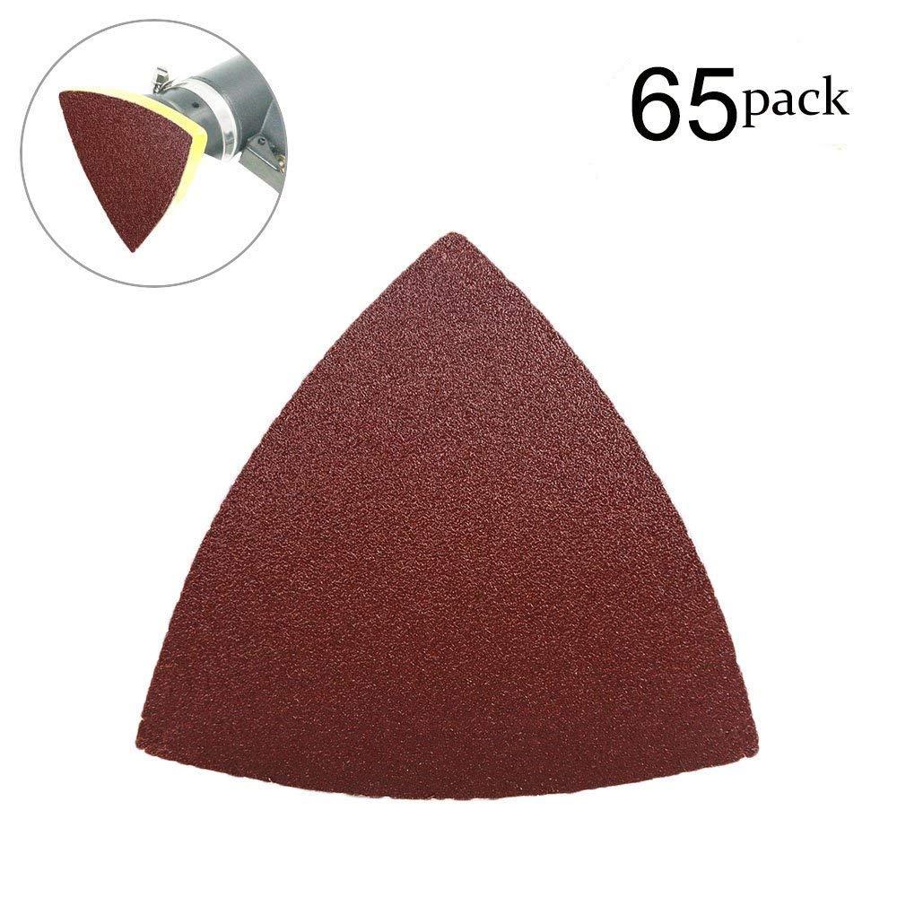 OxoxO Triangular Abrasive Sandpaper No Hole Sander Pads Aluminum Oxide Sanding Sheets 80 Grits 9x9x9cm 65-Pack