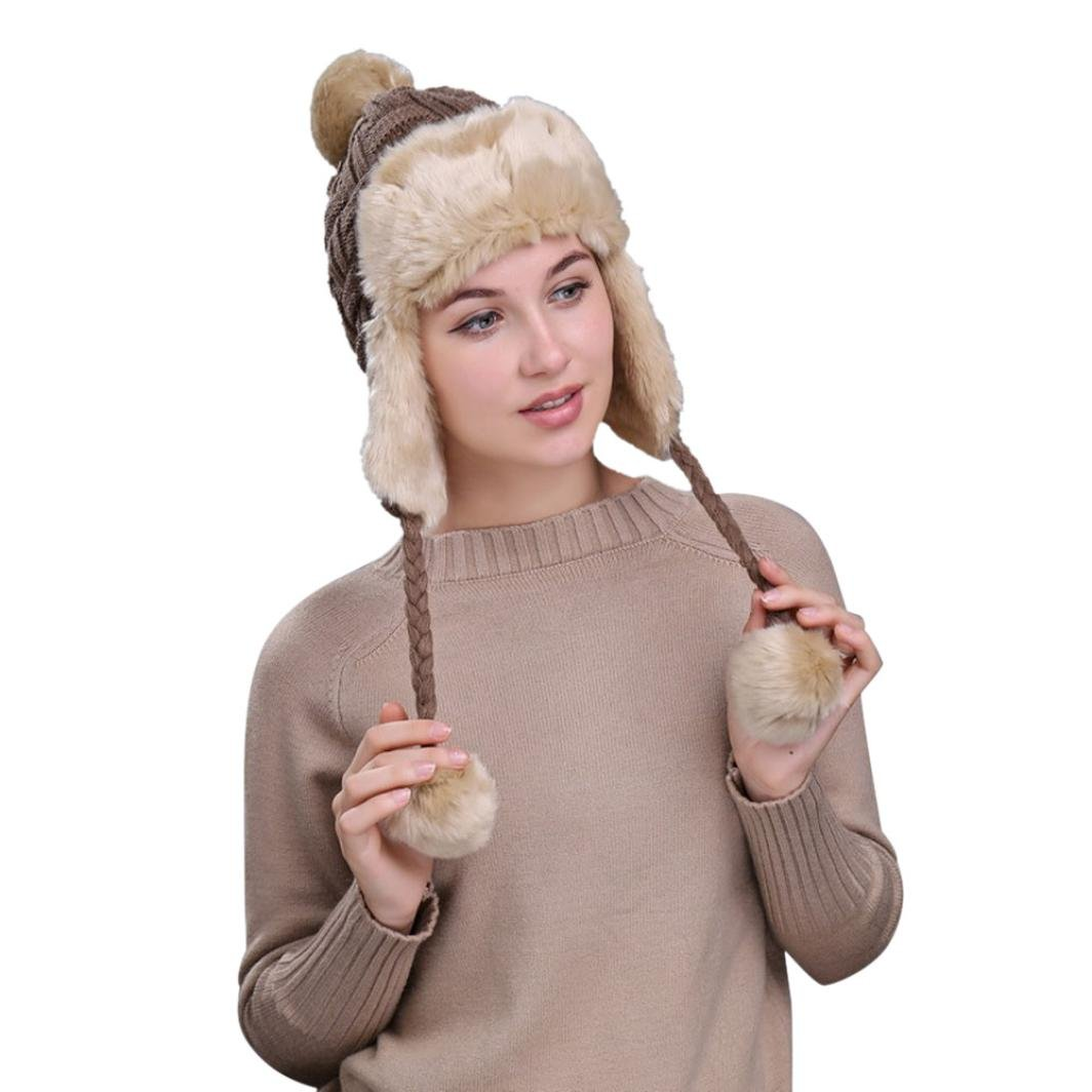 Omiky® Frauen Winter Warme Mütze mit Ohrenklappen Schnee Ski Dicke Strickwolle Beanie Cap Hut