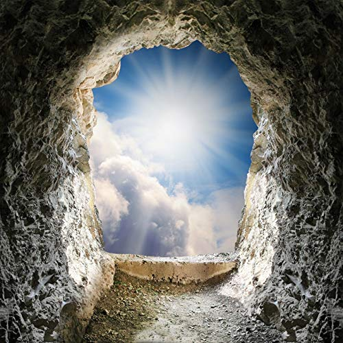 Yeele Backdrops 9x9ft Jesus Cave Photography Background Sunshine Blue Sky White Cloud Holy Light Christ Resurrection Easter Christian Pictures Adult Artistic Portrait Photoshoot Props ()