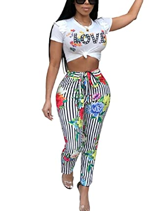 38aa7a953b3 Gamery Club Outfits for Women Sexy Pants Crop Tops with Short Sleeve  Stripes Floral Black Small