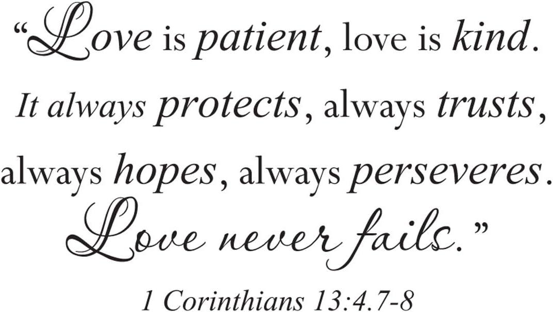 Wall Sticker Quote Vinyl Decal Love is Patient Kind Corinthians Bible Verse