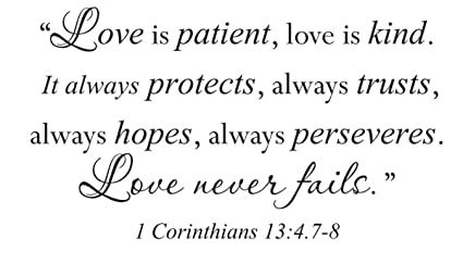 Love Is Patient Quote | Amazon Com Wall Sticker Quote Vinyl Decal Love Is Patient Kind