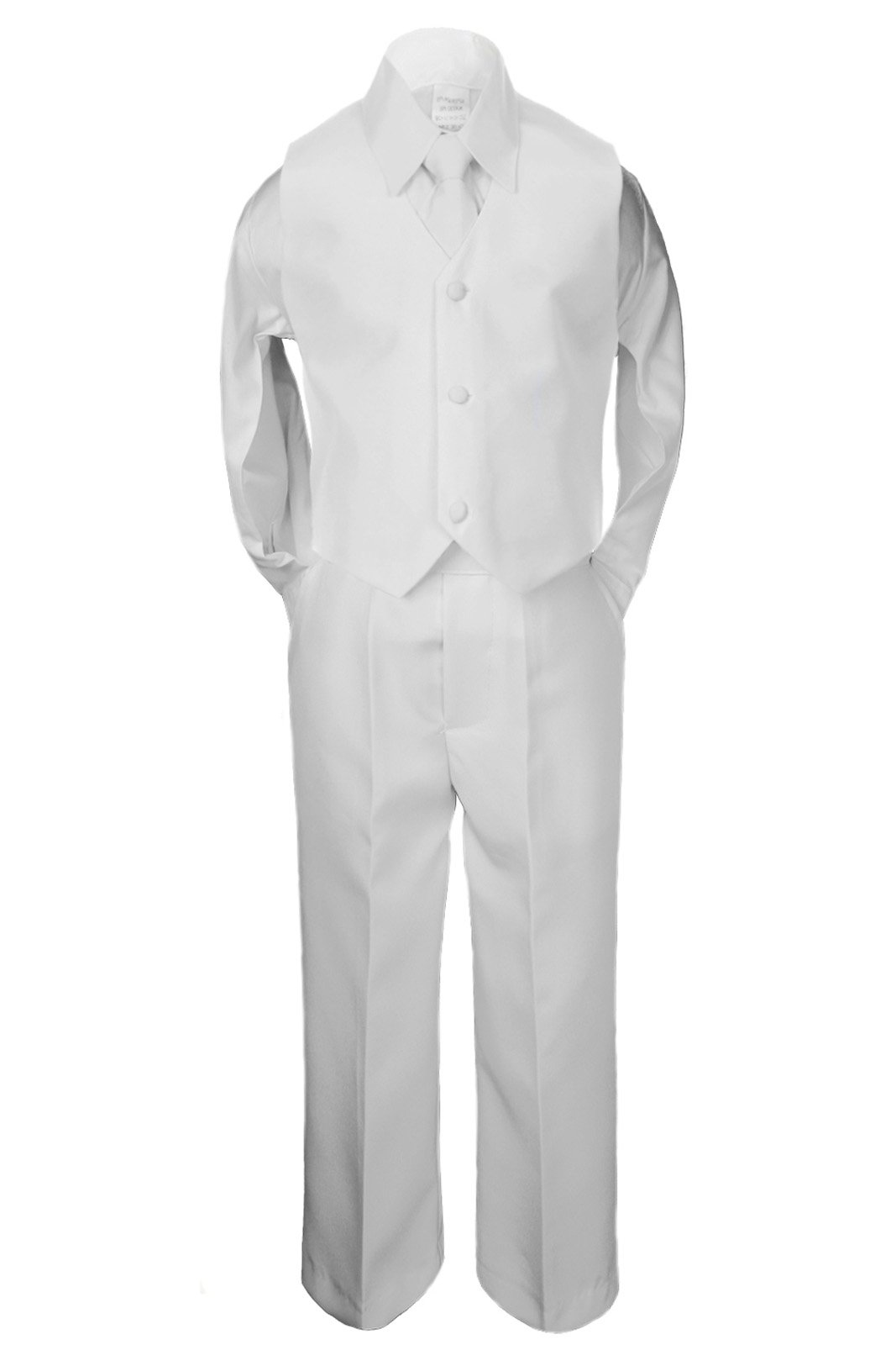 5pc Baby Boy Teen WHITE SUIT w/ Cancer Awareness Ribbon Adhesive LOVE HOPE Patch (2T, 5pc White suit set Only) by Unotux (Image #3)