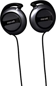 Maxell EC-150 Wired Lightweight Soft Touch Rubber Cord Stereo Line Ear Clips 30mm Drivers, Black (190561)