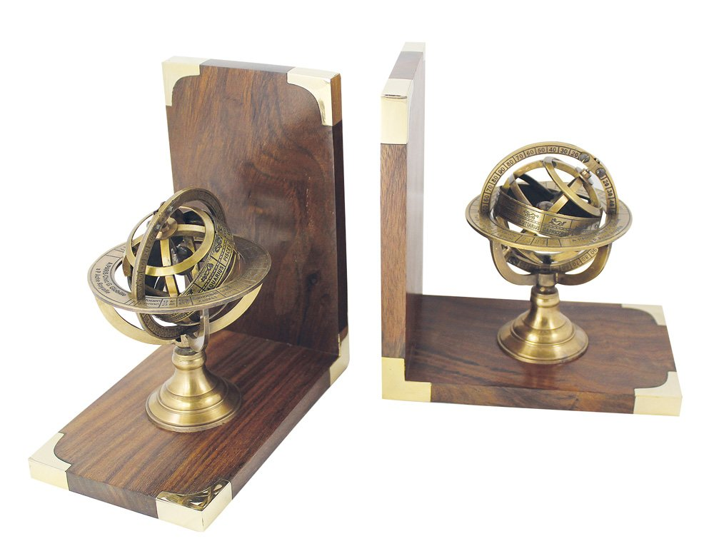 Buchstützen Armillarsphäre Holz Holz Holz Messing 1 Paar 32 x 17 x 10 cm B01MZ9REWO | Feine Verarbeitung  767d70