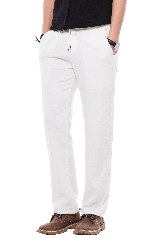 Mens Drawstring Casual Linen Pants Men, Regular Fit Flat Front Dress Summer Beach Pants for Men