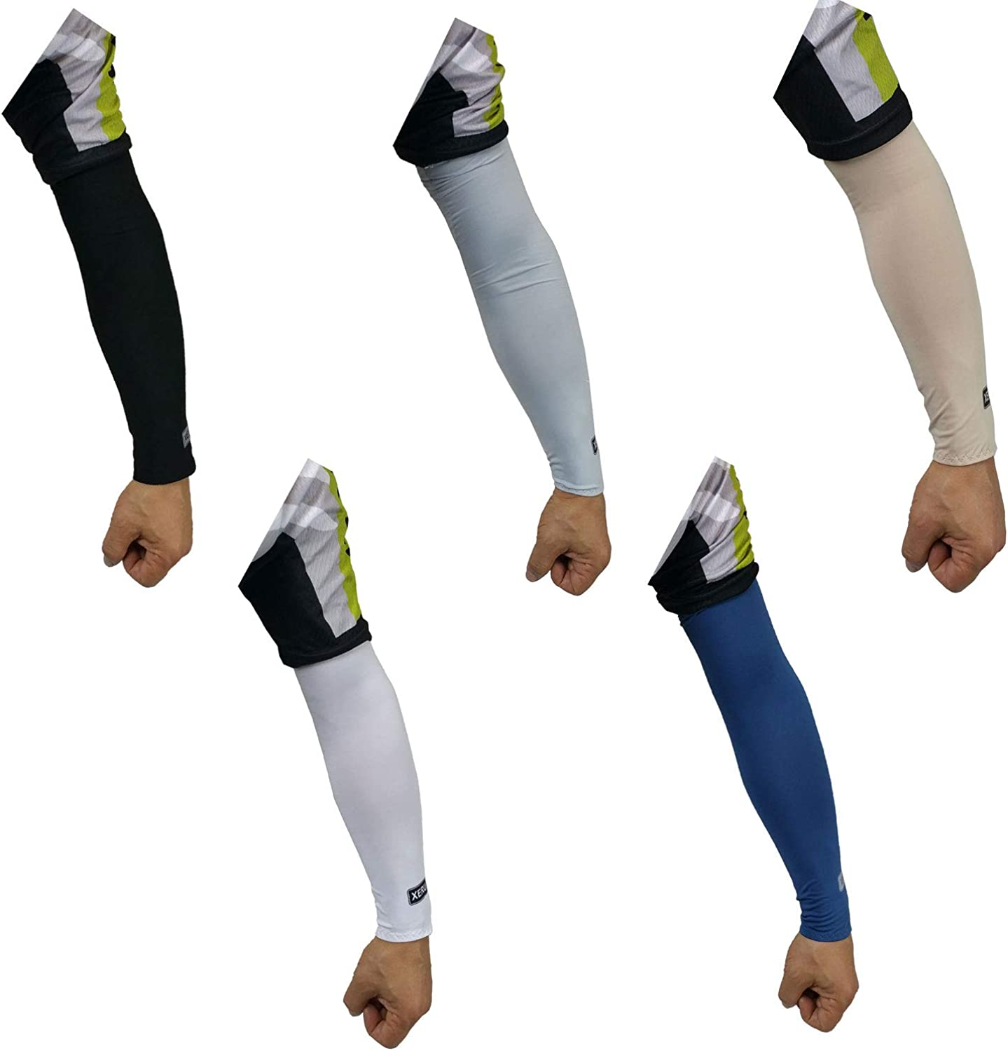 Xeru 5 pairs Cooling Arm Sleeves Cover UV Sun Protection Outdoor Sports Unisex Men Women