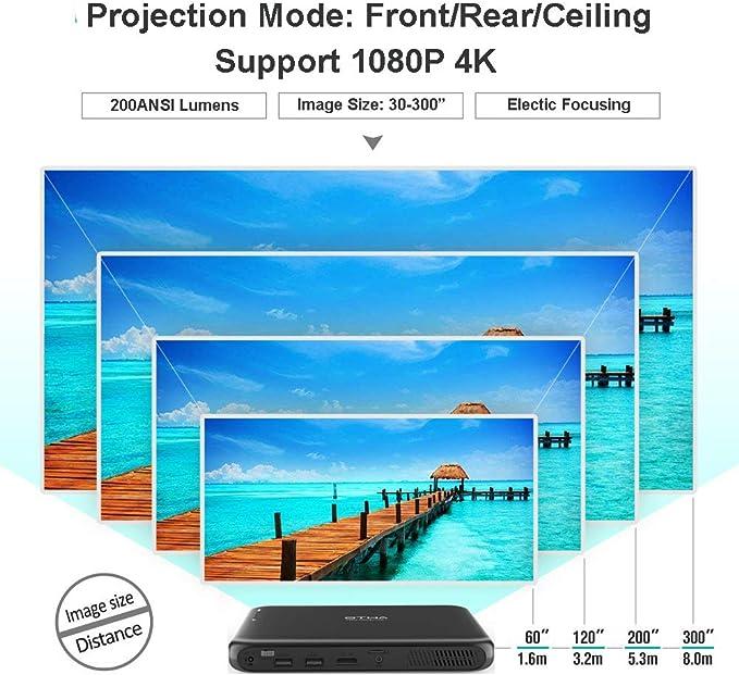 Compatibile con 1080P 4K Bluetooth HDMI USB TF Supporto iPhone Smartphone PS4 OTHA Mini Proiettore Portatile Videoproiettore 3D DLP Proiettori 200ANSI Lumens Android WiFi Proiettore 8000mAh Batteria