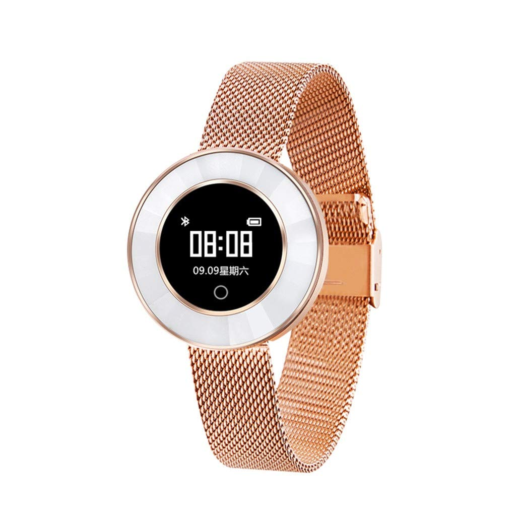 X6 Smart Watch for Android & IOS, SHUDAGE Women Girls IP68 0.66 inch IPS Color Screen Heart Rate Sleep Monitoring Bluetooth 4.0 Smart Watch Bracelet Wristband (Milanese Magnetic Band) (rose gold)
