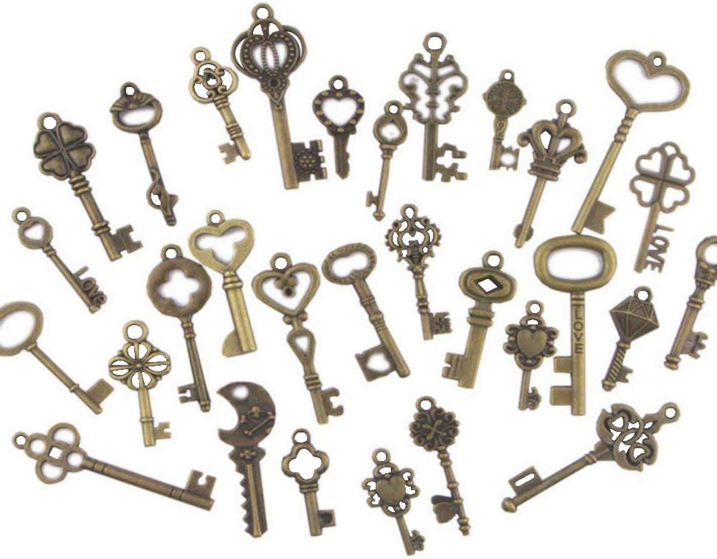 Swity Home 120 Pack Skeleton Keys, 30 Keys in Antique Bronze, Charm Set DIY Handmade Accessories Necklace Pendants, Set of 120 Keys