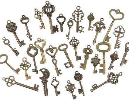 30s Vintage skeleton key  Iron key  Oval key  skeleton key  key pendant necklace  old metal key  jewelry supply