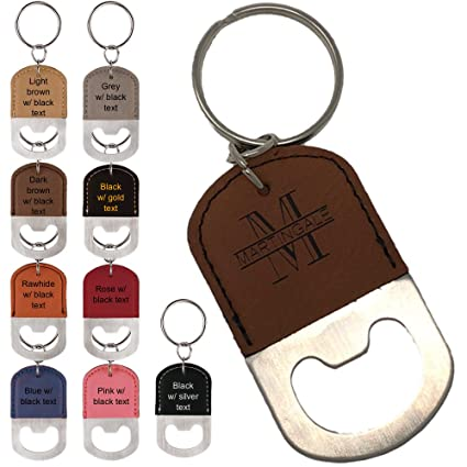 Personalized Engraved Leatherette Bottle Opener Keychain - Groomsmen gift,  wedding party favor, (Rawhide w/ black engraving)