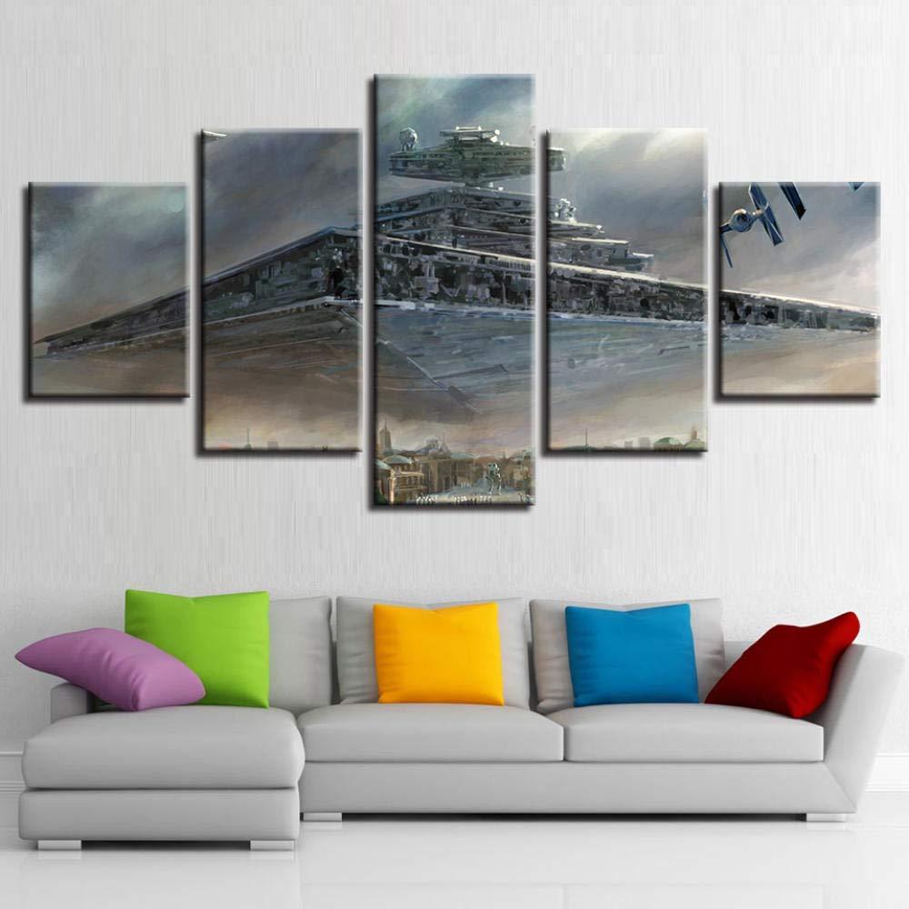 Meyardecor Wandkunst Wohnkultur Leinwand Poster 5 Panel Star Wars Imperial Schlachtschiff Star Destroyer F/ür Wohnzimmer Gedruckt Bilder 30x60 cm x 2 30x80 cm x 2 Ungerahmt
