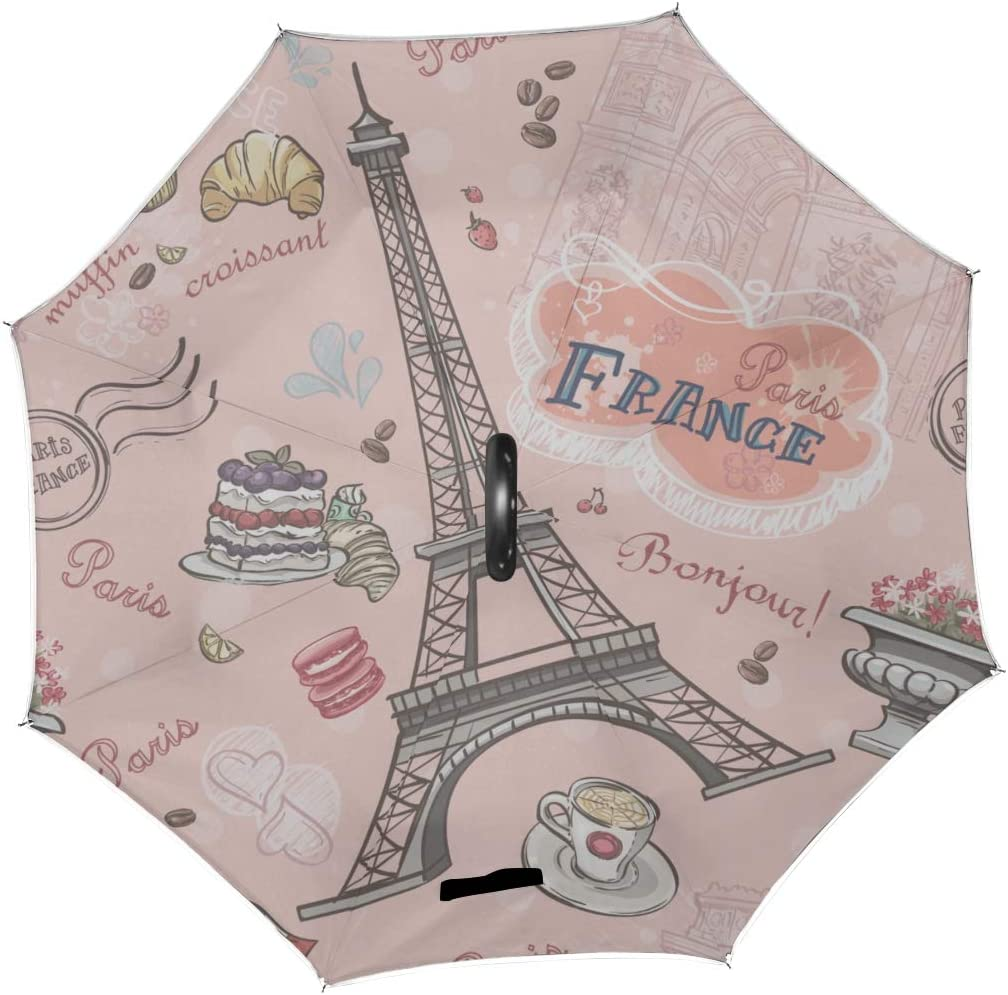 Double Layer Inverted Inverted Umbrella Is Light And Sturdy Pattern On Paris Romantic Elements Reverse Umbrella And Windproof Umbrella Edge Night Ref