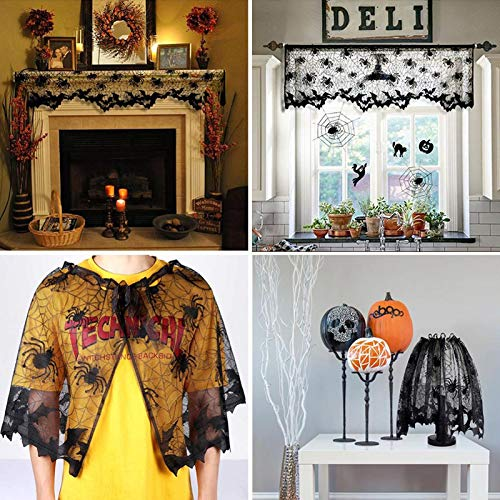 Trentixel 4 Pcs Halloween Decorations Set, Halloween Tablecloth Spooky Bat Spiderweb Lace Rectangular Tablecloth, Round Lace Table Cover, Halloween Lamp Shades and Fireplace Scarf Cover