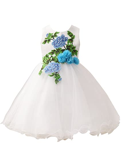 af00d852812 Castle Fairy Girls Embroidered Handdmade Flower Dress Wedding Party Knee  Length P2 Size 04