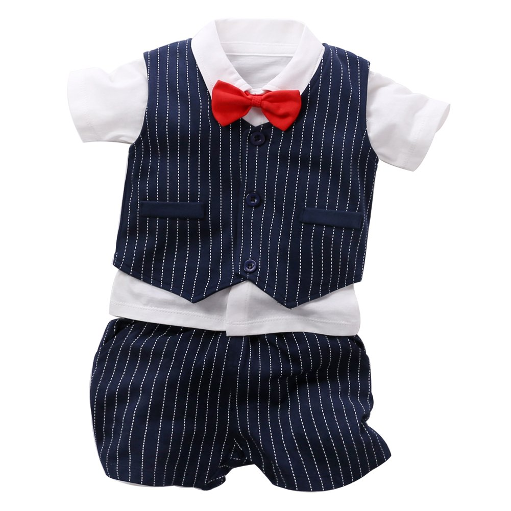 Fairy Baby Baby Boy Formal Outfit Short Sleeve Tuxedo Plaid Gentleman Suit (6-9Months, Navyblue Stripes) by Fairy Baby (Image #1)