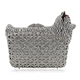 Milisente Women Evening Bag Puppy Crystal Clutch Purse Party Evening Handbag (Silver)