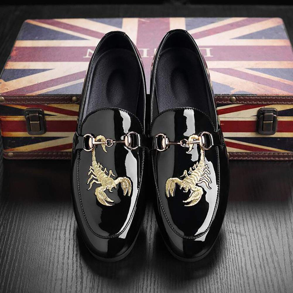 Hy-C Mens Artificial PU Leather Shoes,Personality Embroidered Men Casual Peas Shoes//Lazy Shoes, Mens Casual Driving Shoes Formal Business Work