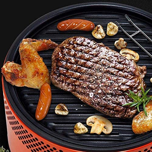 Tailgating or Picnicking HYTX Portable Outdoor Smokeless Charcoal BBQ Grill with Non Stick Interchangeable Griddle Plate and Battery Powered Ventilation Fan For Outdoor Cooking While Camping
