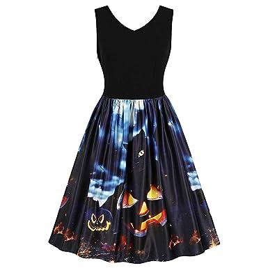 8f2c32efedc DressLily Women Printed Dress Sleeveless V Neck Party Halloween Vintage  Dresses Black S