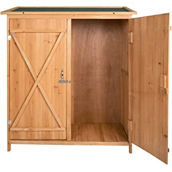 Beau Peach Tree Wooden Outdoor Garden Shed Lockable Storage Unit With Double  Doors