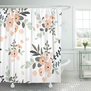 "Emvency 72""x72"" Shower Curtain Waterproof Blush Pink Floral Bouquets On The White Rose Flowers Exotic Summer Beach Home Decor Polyester Fabric Adjustable Hook Set"