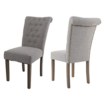 Amazoncom Merax Set of 2 Fabric Dining Chairs with Solid Wood