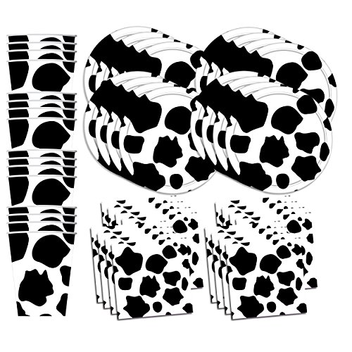 Cow Print Birthday Party Supplies Set Plates Napkins Cups Tableware Kit for 16 Cow Print Party Supplies