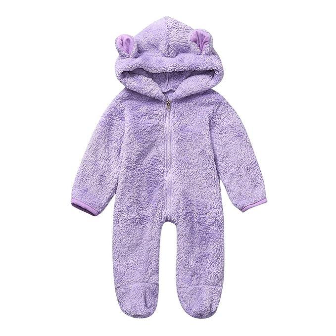 MYONA Pelele Bebé Pijamas, Mono de Bebe Manga Larga de Felpa Suave ...