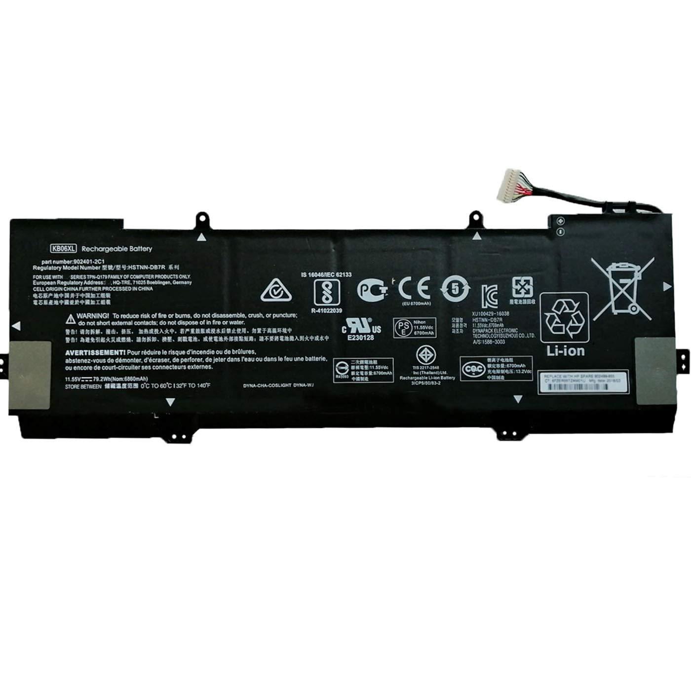 Bateria Dentsing 11.55V 79.2Wh/6700mAh KB06XL para HP Spectre X360 15-BL002XX 15-BL000NA 15-BL030NG 2PG91EA Z6L01EA Z6K9