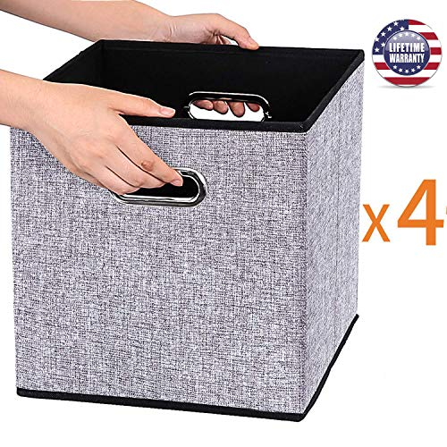 Foldable Storage Cube Box Container Linen Fabric 100% No Smell [4Pack]Collapsible Storage Bin Baskets Organizer Drawer Cabinet Shelf Container with Metal Handles for Livingroom toys gifts Medicine