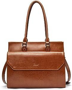 Briefcase for Women Oil Wax Leather Vintage 15.6 Inch Laptop Business Shoulder Bag Brown
