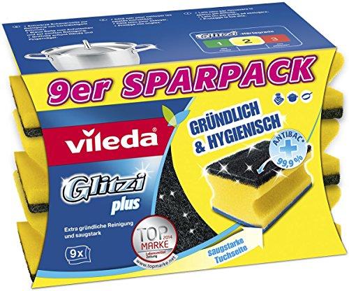 Vileda Glitzi Plus Topfreiniger zur gründlichen, hygienischen und saugstarken Reinigung, 9er Sparpack