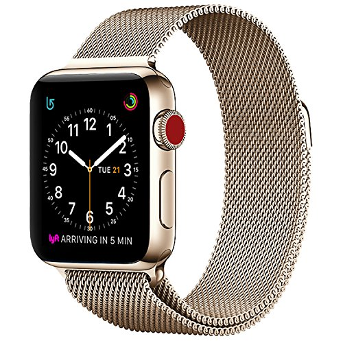 Apple Watch Milanese Band 38mm, SICCIDEN Magnetic Mesh Loop Milanese Stainless Steel Replacement iWatch Band for Apple Watch Series 2, Series 1, Gold