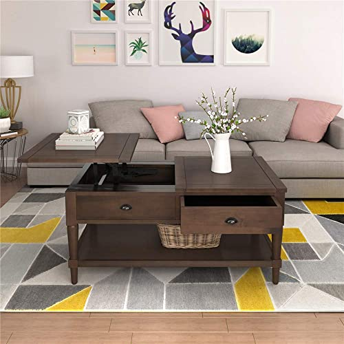 Modern Lift Top Wooden Coffee Table Adjustable Tabletop Coffee Table
