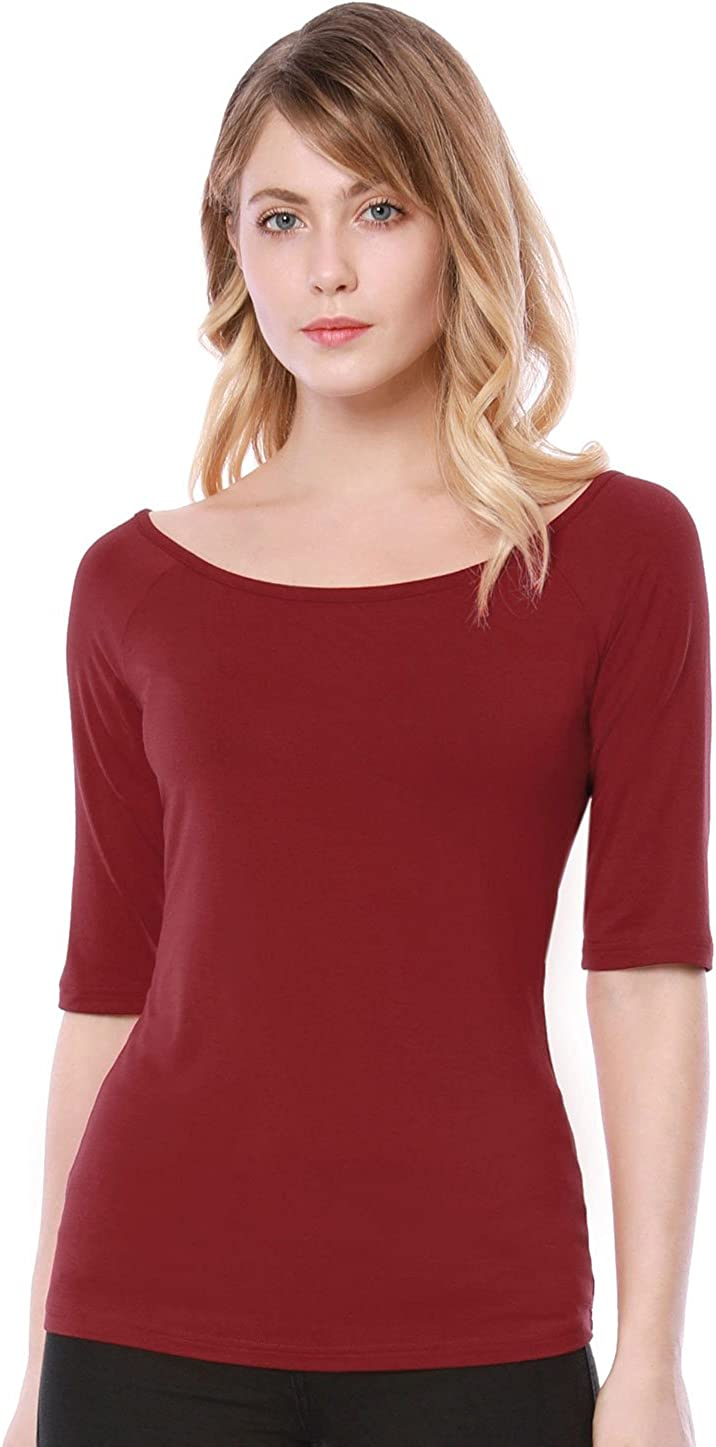 Allegra K Camiseta para Mujer Medias Mangas con Cuello Redondo Ajustado