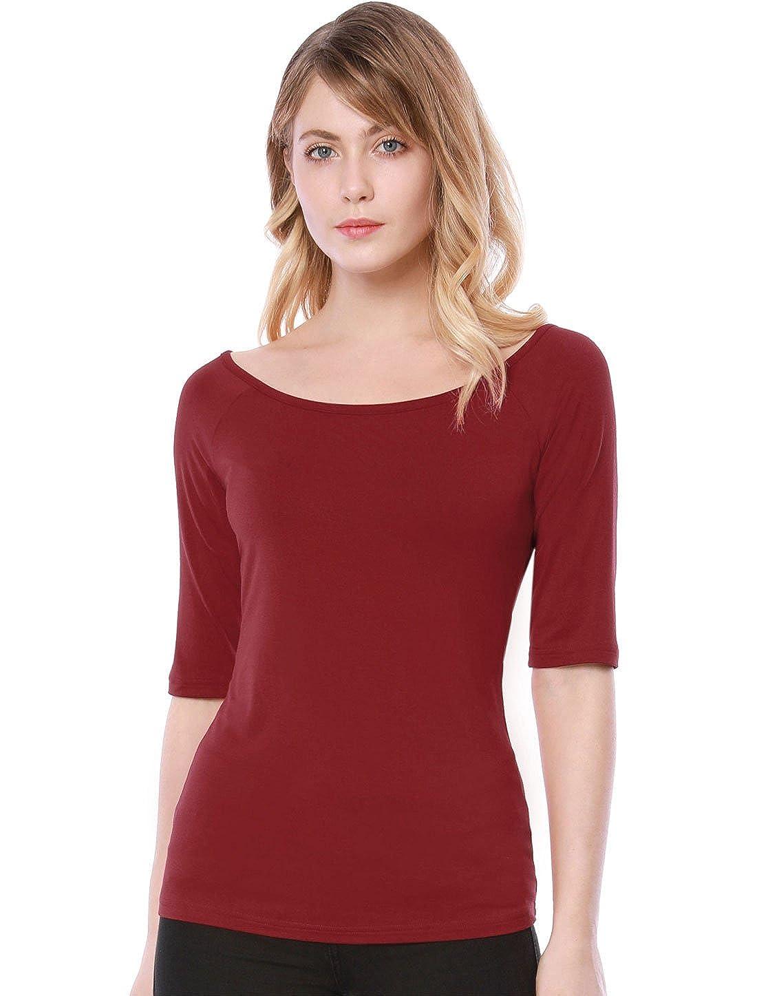TALLA S. Allegra K Camiseta para Mujer Medias Mangas con Cuello Redondo Ajustado