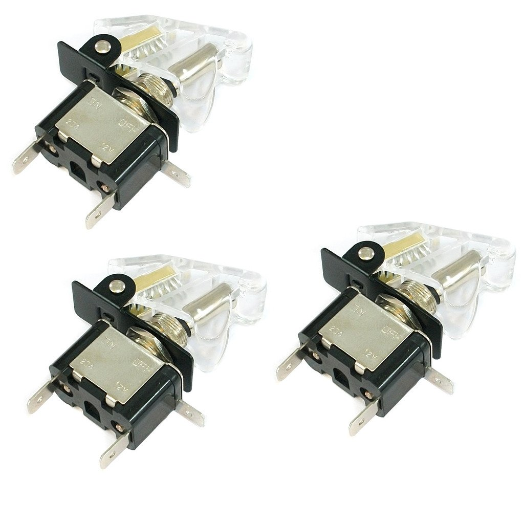 WHITE LED Light + PURPLE Auto Cover TrendBox 3 Sets Toggle Flick SPST Switch 12V 20A ON//OFF Control Car Truck Boat ATV Airplane