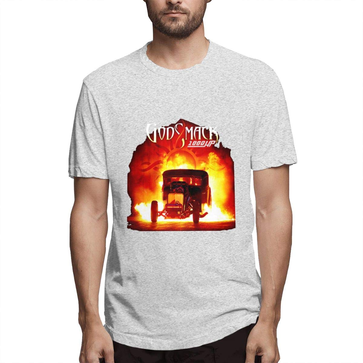 Luxendary Men Logo Funny Godsmack 1000hp Classic Athletic Round Neck Short Sleeve Shirt