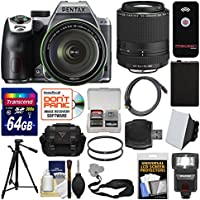 Pentax K-70 All Weather Wi-Fi Digital Camera & 18-135mm WR Lens (Silver) with 55-300mm Lens + 64GB Card + Case + Flash + Battery + Tripod + Kit