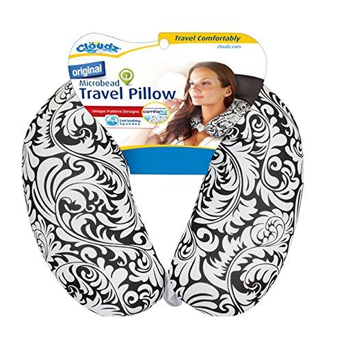 Cloudz Patterned Microbead Travel Neck Pillows - Black/White Print