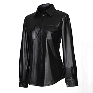 26069aa168bc2 Sorrica Womens Sexy Shiny Metallic PU Faux Leather Nightclub Styles Long  Sleeves Button Down Shirts Top