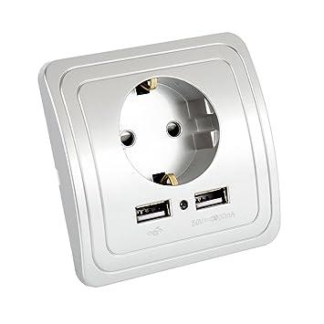 250 V EU toma de corriente Cargador USB doble sector enchufe ...