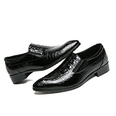 89e68f71b41 Men s Crocodile Texture PU Leather Dress Oxford Shoes Slip on Modern  Business Penny Loafer (Color
