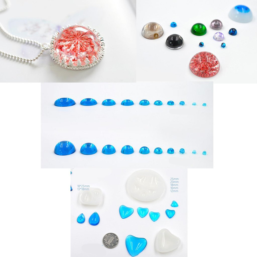 MagiDeal Silicone Domed Cabochon Pendants Mold Resin Casting Mould for Jewelry Making Half Round