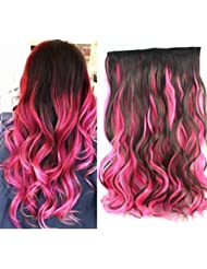 Amazon pink hair extensions extensions wigs 20 dark brown mix pink two colors ombre hair extensions pmusecretfo Image collections
